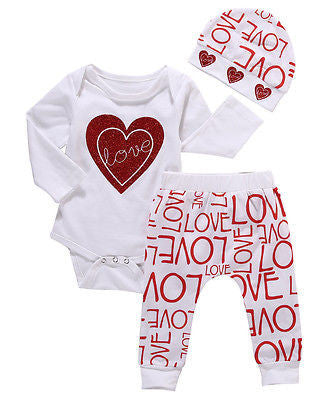 "Baby Girl 3pcs set (Long Sleeve ""Love"" Romper, Pants and Hat)"