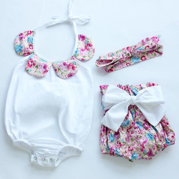 3PCS HIGH-CLASS BABY GIRL FLORAL OUTFIT