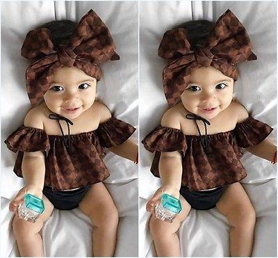 African Print Inspired Baby Girl Off Shoulder 3pcs Outfit Modern