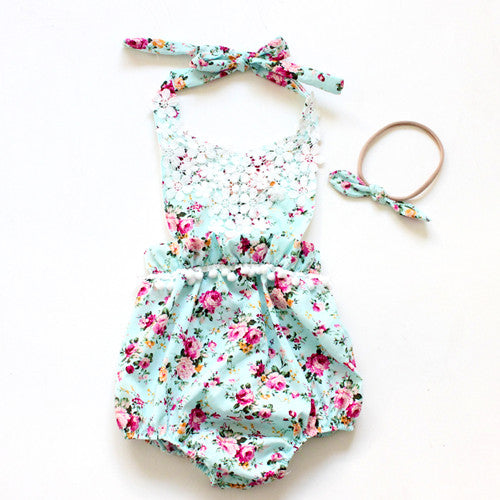 PINK ROMPER WITH FLORAL LACE AND HEADBAND 2PC SET
