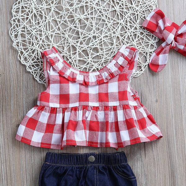 3PCS CHECK RUFFLE TOP W/ BOW AND DENIM PANTS