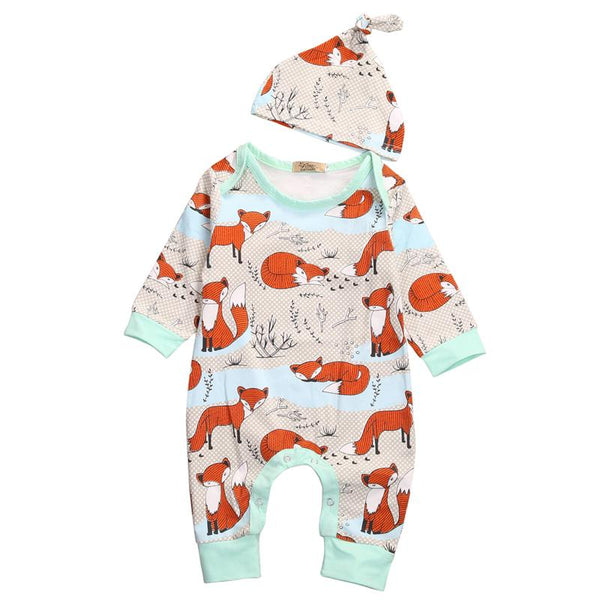 FOX PRINT 2PC BABY ROMPER AND HAT