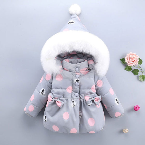 BABY GIRL WINTER POLKA DOT PARKA