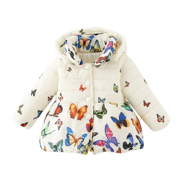 BUTTERFLY PRINT BABY GIRL PARKA