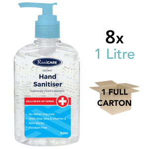Hand Sanitiser 1L Carton - 8 x 1Litre Large Pump Packs - ConfidenceClub