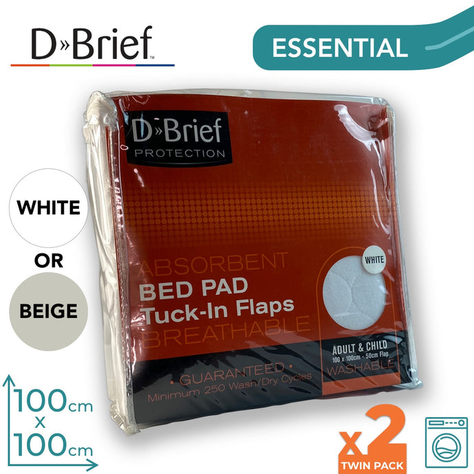 DBrief Bed Pad 100x100cm - With Tucks - Twin Pack - ConfidenceClub