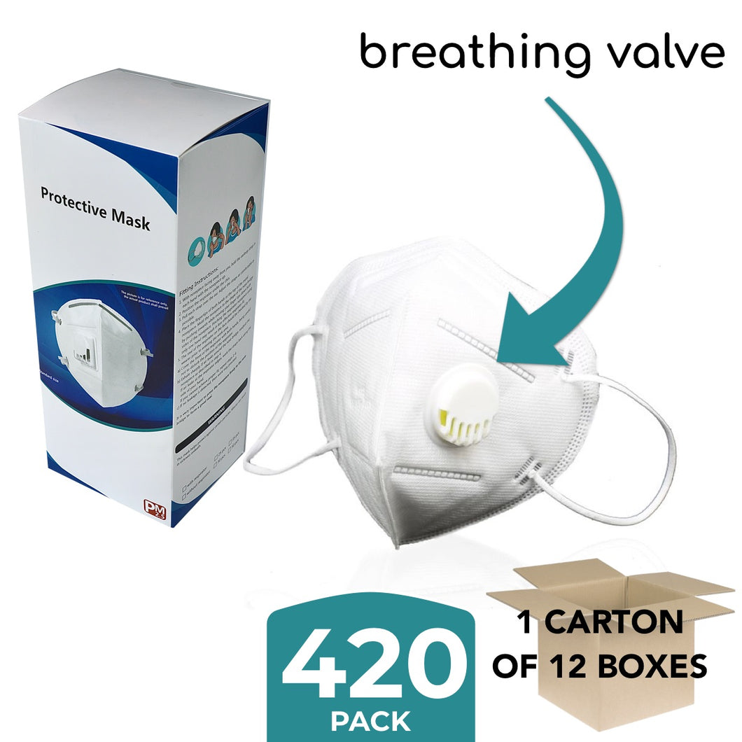 420 x KN95 Masks With Breathing Valve - Commercial Quantity - ConfidenceClub