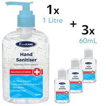 Load image into Gallery viewer, Hand Sanitiser Pack A - 1 x 1L Large Pump Pack, Plus 3 x 60mL Handy Bottles - ConfidenceClub