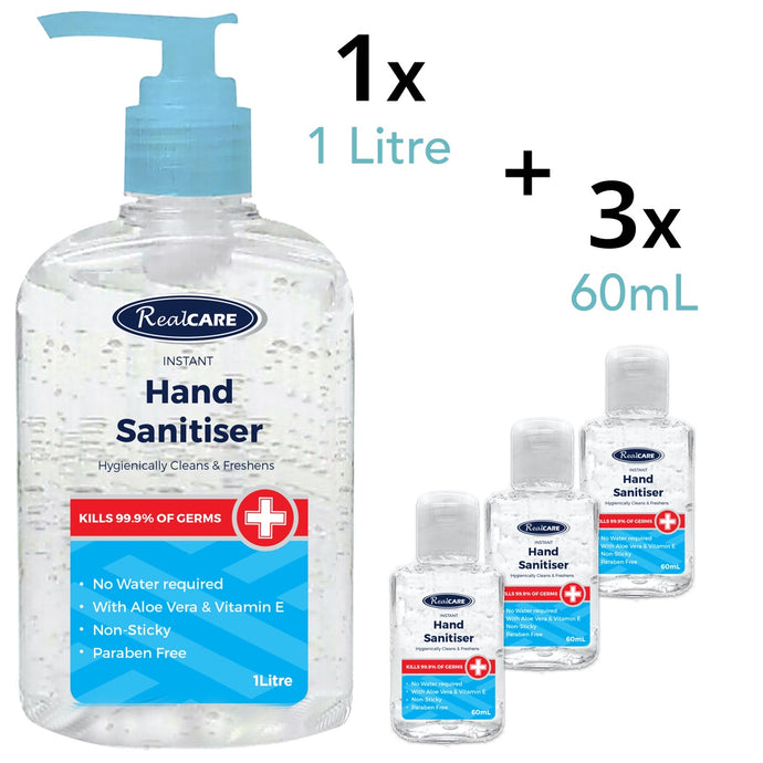 Hand Sanitiser Pack A - 1 x 1L Large Pump Pack, Plus 3 x 60mL Handy Bottles - ConfidenceClub