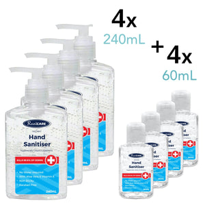 Hand Sanitiser Pack C - 4 x 240mL Standard Pump Packs, Plus 4 x 60mL Handy Bottles - ConfidenceClub