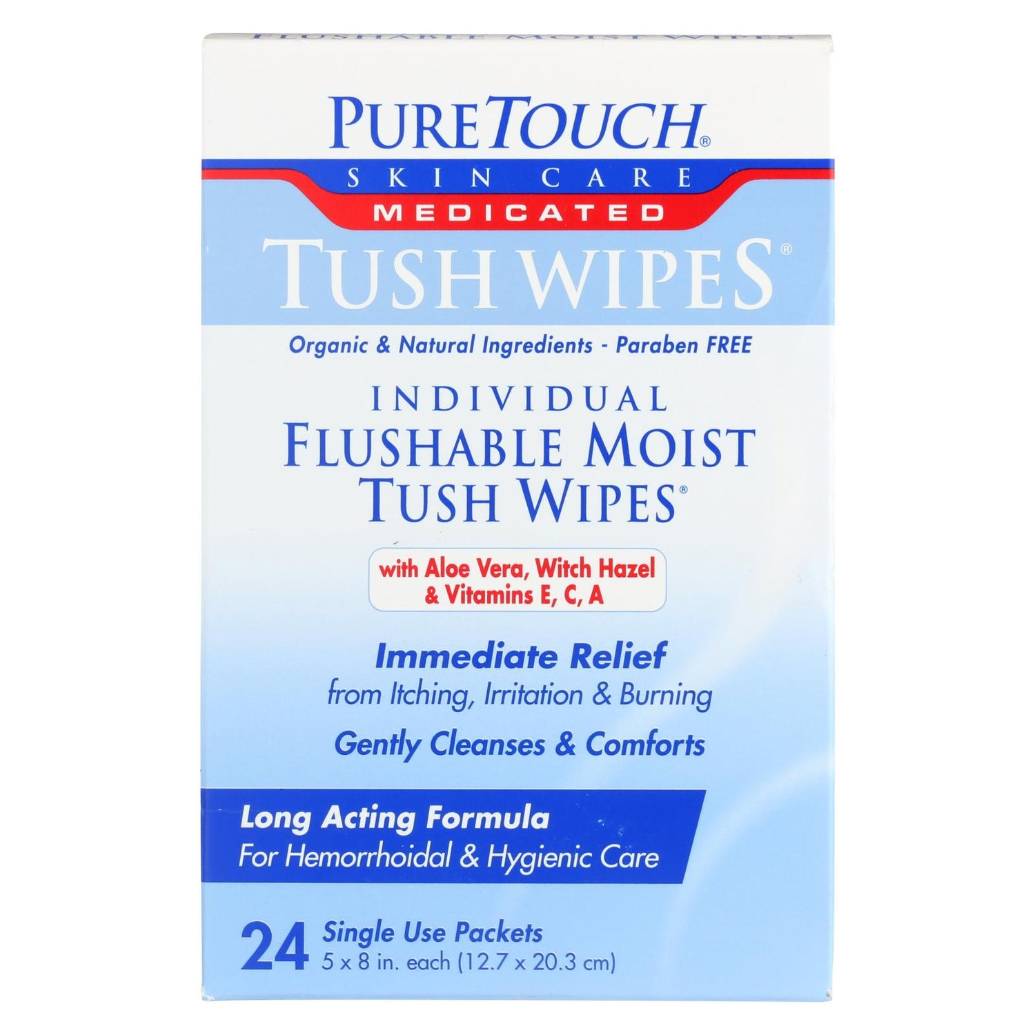 Puretouch Individual Flushable Moist Tush Wipes - 24 Packets