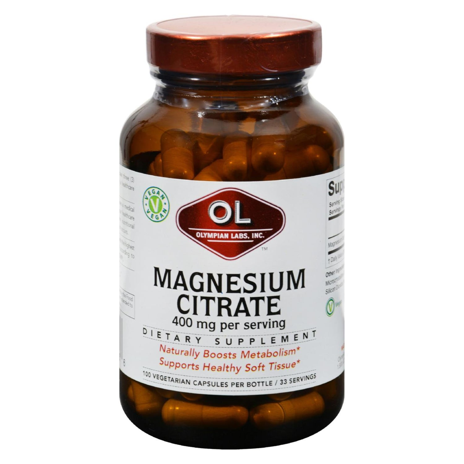 Olympian Labs Magnesium Citrate - 400 Mg - 100 Capsules
