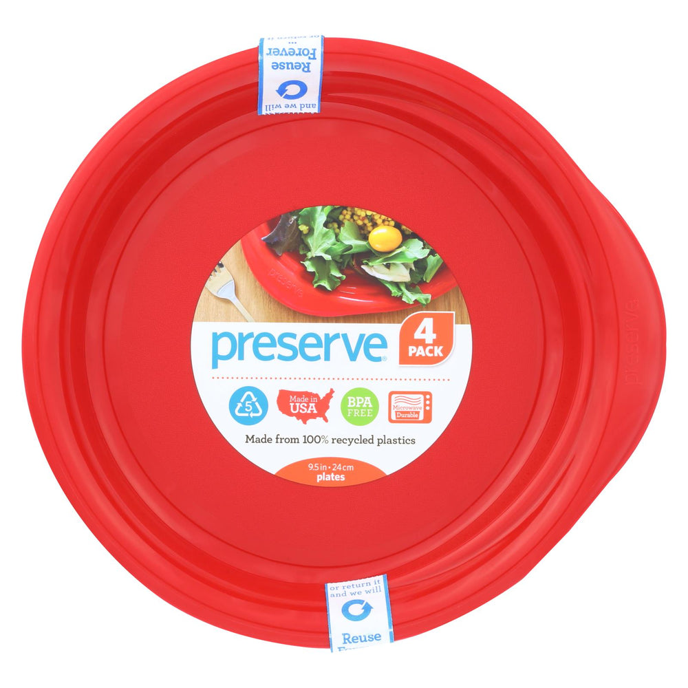 Preserve Everyday Plates - Pepper Red - Case Of 8 - 4 Packs - 9.5 In