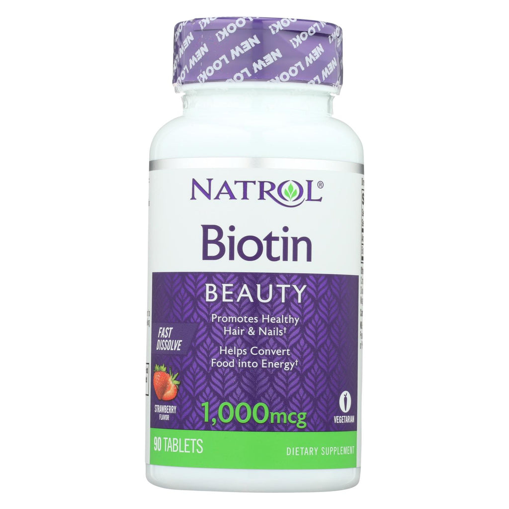 Natrol Biotin - Fast Dissolve - Strawberry - 1000 Mcg - 90 Tablets
