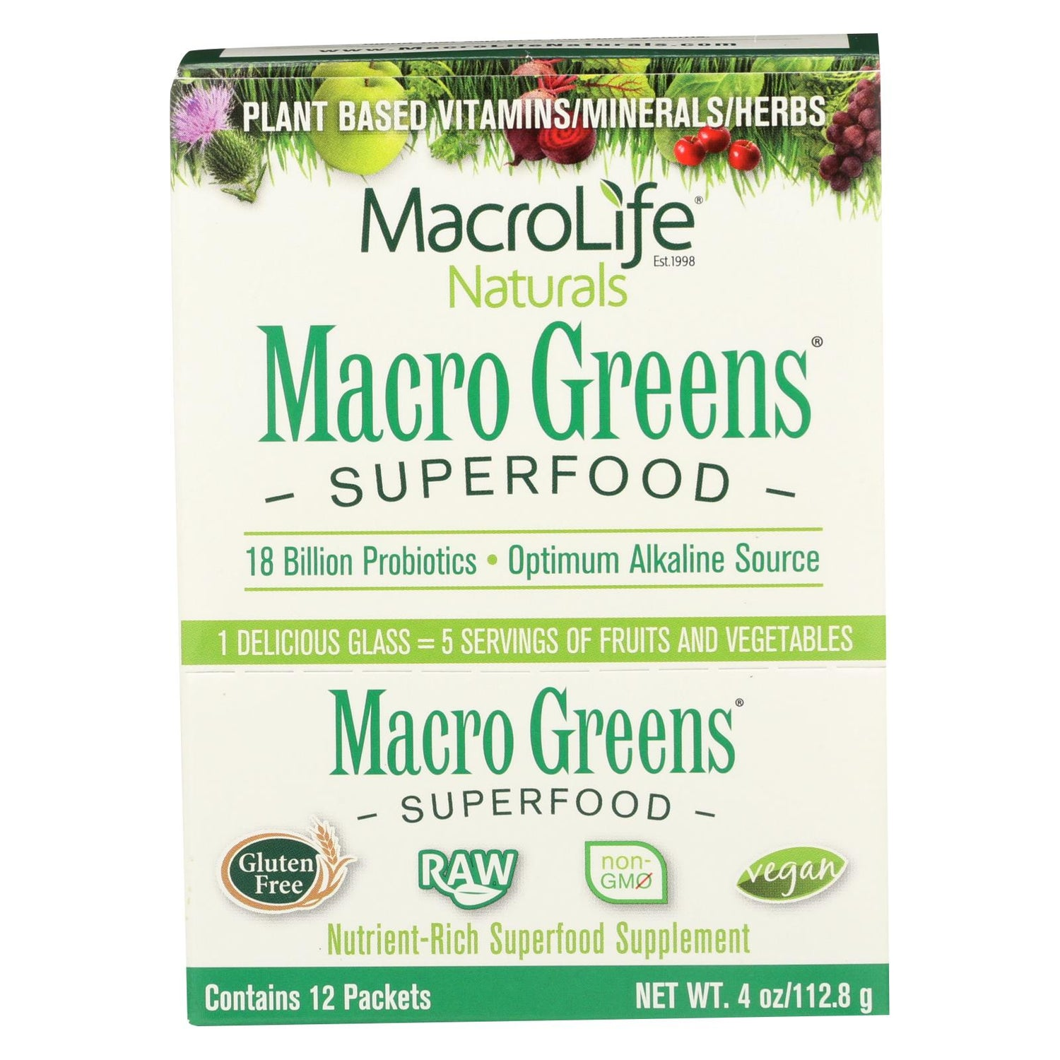 Macrolife Naturals Macro Greens Original - 12 Packets - 4 Oz