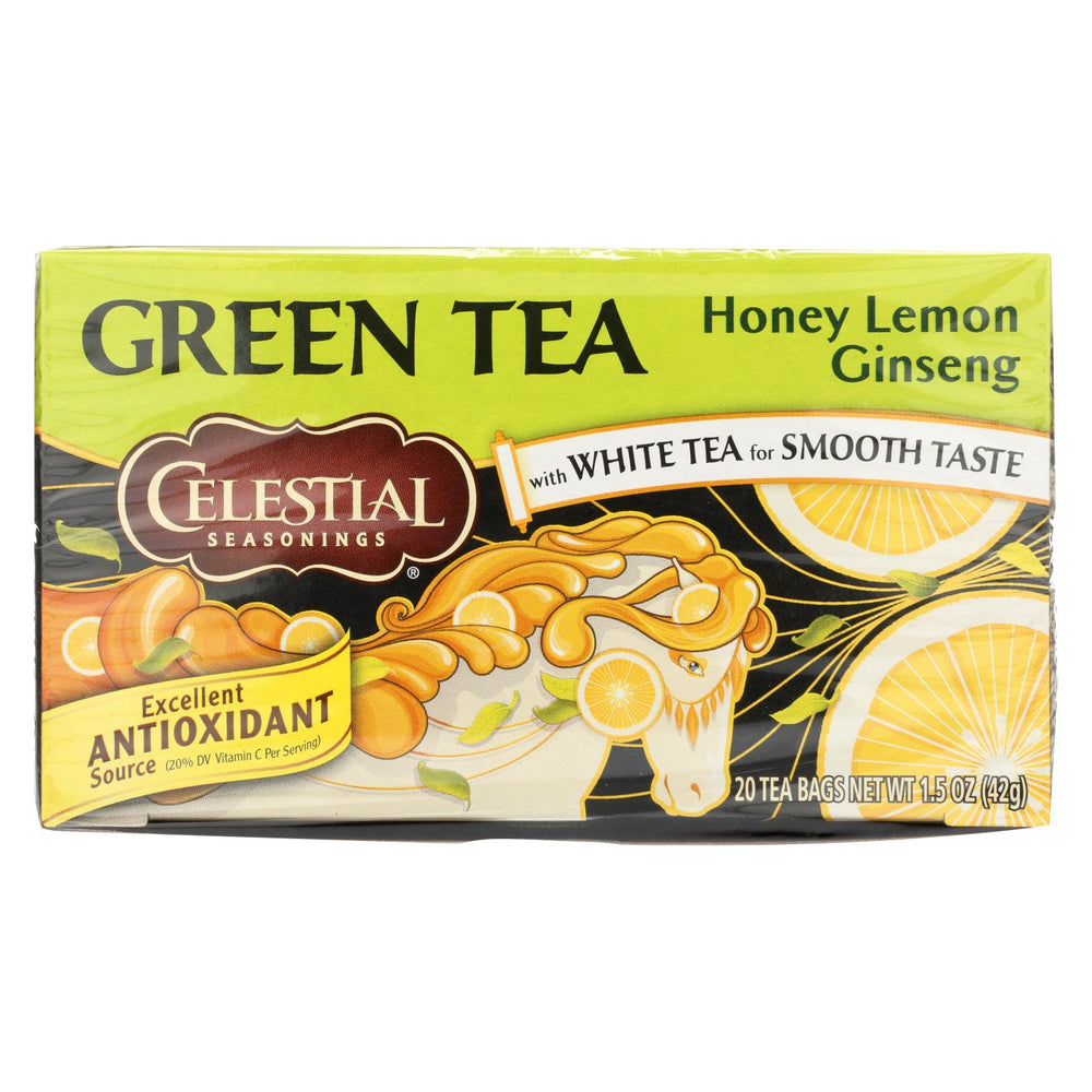 Load image into Gallery viewer, Celestial Seasonings Green Tea Honey Lemon Ginseng With White Tea - 20 Tea Bags - Case Of 6
