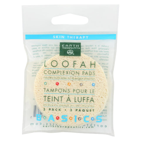 Earth Therapeutics Loofah Complexion Pads - 3 Pads - Case Of 12