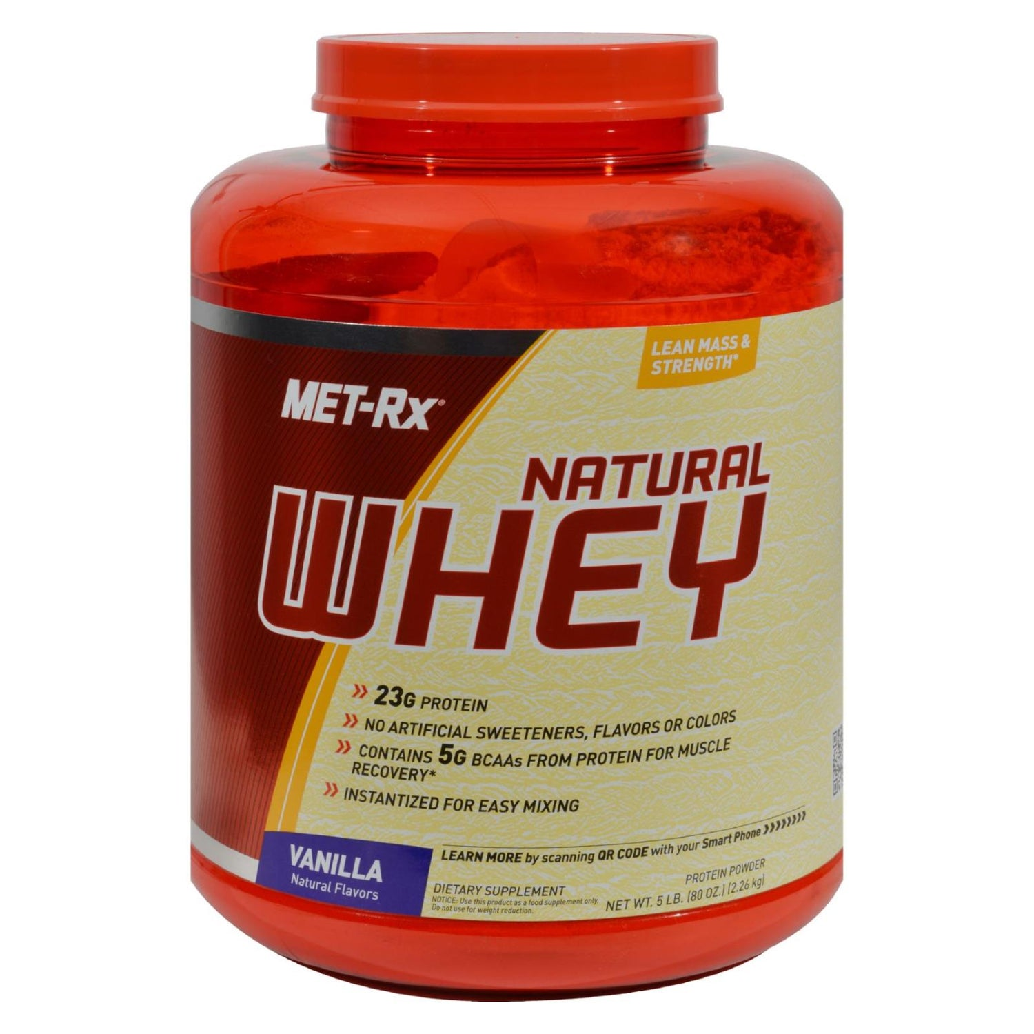 Met-rx Instantized 100% Natural Whey Powder Vanilla - 5 Lbs