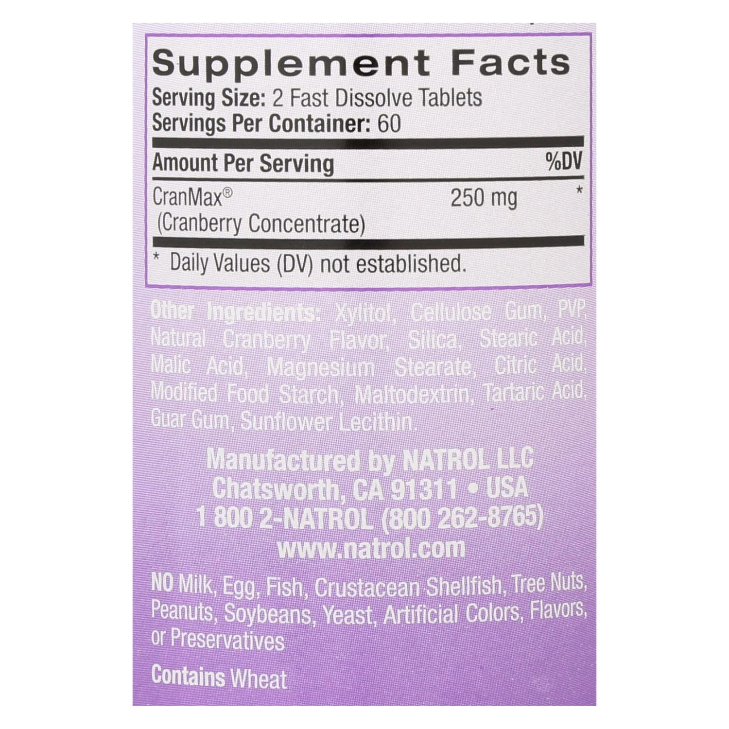 Natrol Cranberry Fast Dissolve - 250 Mg - 120 Tablets