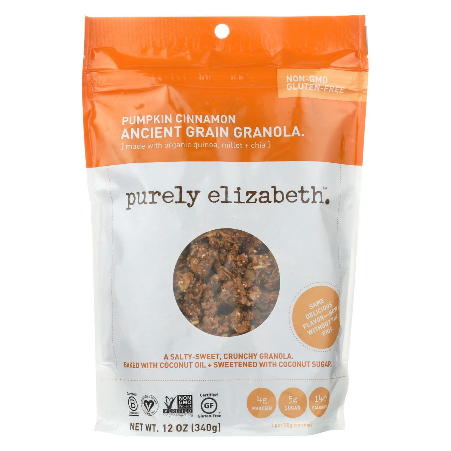 Purely Elizabeth Organic Ancient Granola Cereal And Puffs - Pumpkin Fig - Case Of 6 - 12 Oz.