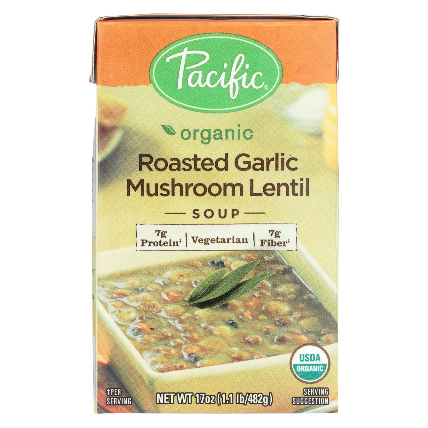 Pacific Natural Foods Mushroom Lentil Soup - Roasted Garlic - Case Of 12 - 17 Oz.