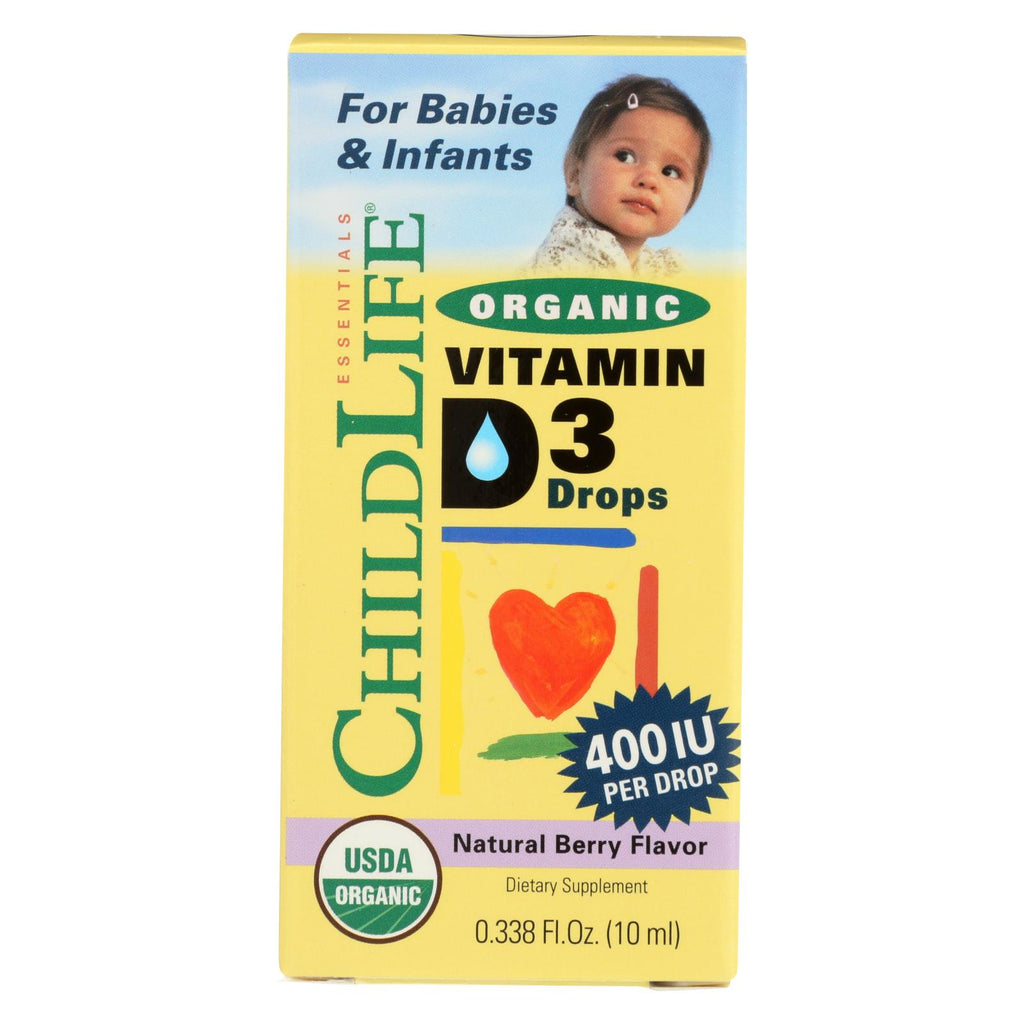 Childlife Organic Vitamin D3 Drops For Babies And Infants - Natural Berry Flavor - .338 Oz