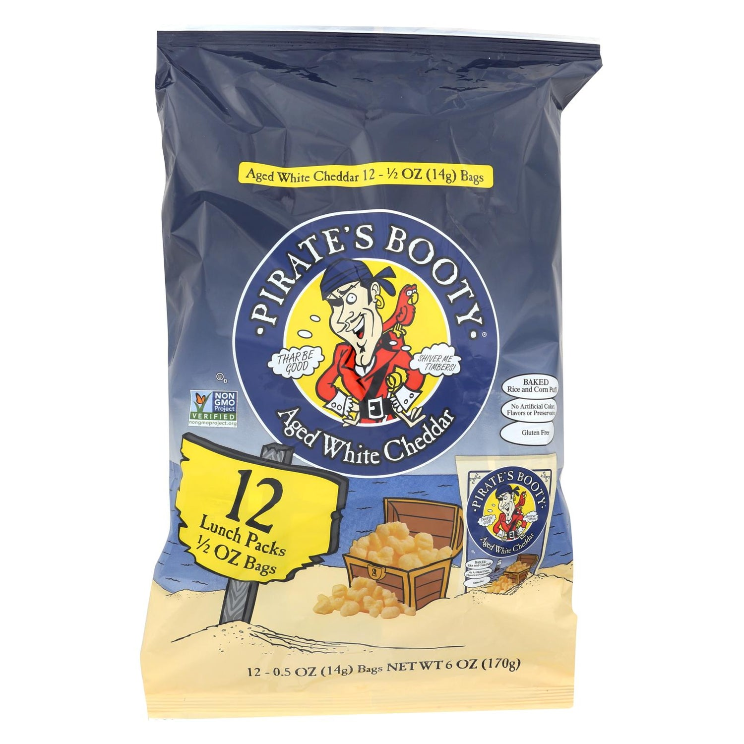 Pirate Brands Booty Puffs - Aged White Cheddar - Case Of 12 - 0.5 Oz.