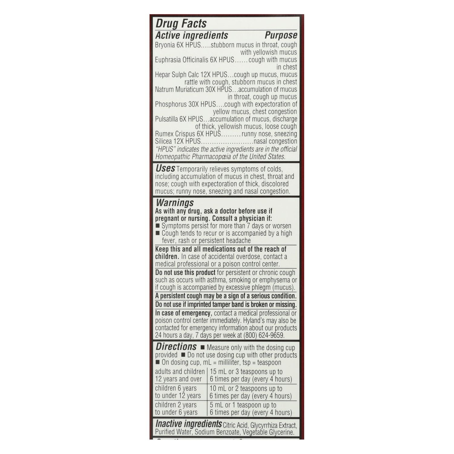 Hylands Homepathic Cold And Mucus - Defend - 4 Fl Oz