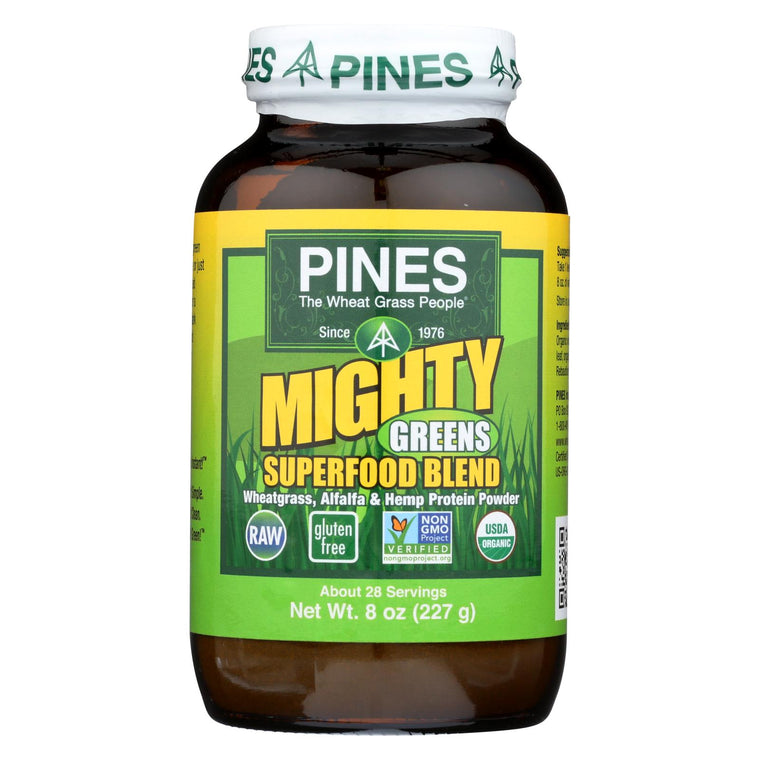 Pines International Mighty Greens Superfood Blend Powder - Organic - 8 Oz