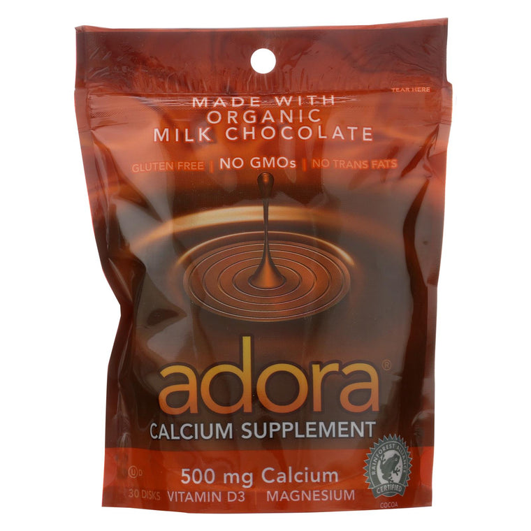 Adora Calcium Supplement Disk - Organic - Milk Chocolate - 30 Ct - 1 Case