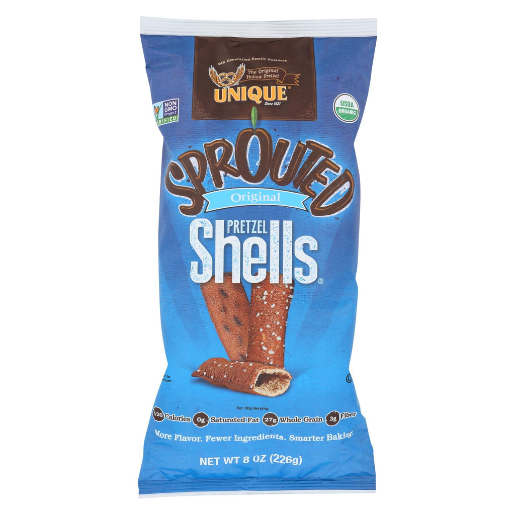 Unique Pretzels Sprouted Shells - Original Sea Salt - Case Of 12 - 8 Oz.