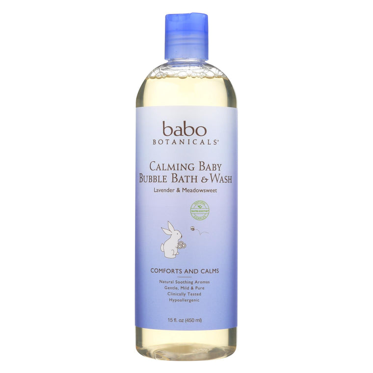 Babo Botanicals Shampoo Bubblebath And Wash - Calming - Lavender - 15 Oz