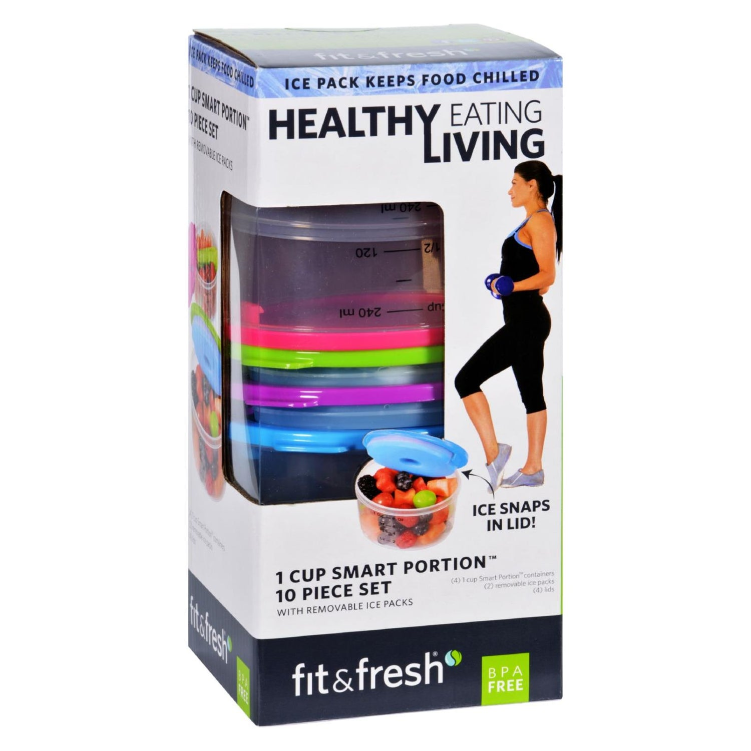 Fit And Fresh Containers - Healthy Living - Smart Portion - 1 Cup Size - 10 Pieces