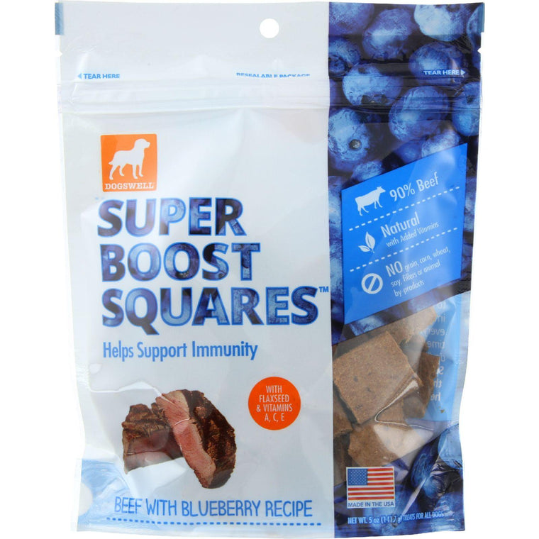 Dogswell Dog Treats - Super Boost Squares - Immunity - Beef With Blueberry - 5 Oz - Case Of 12