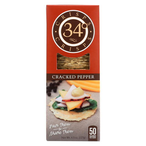 34 Degrees - Crispbread - Cracked Pepper - Case Of 18 - 4.5 Oz.