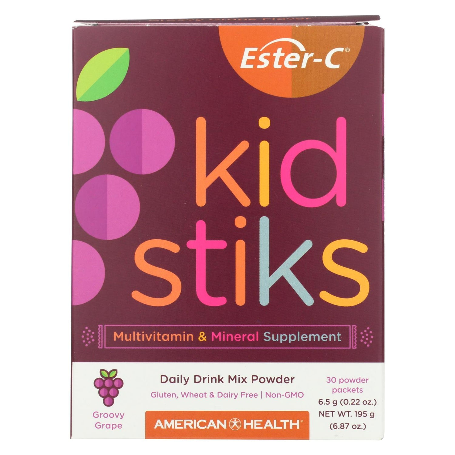 American Health Ester-c - Kid Stiks - Groovy Grape - 30 Packets