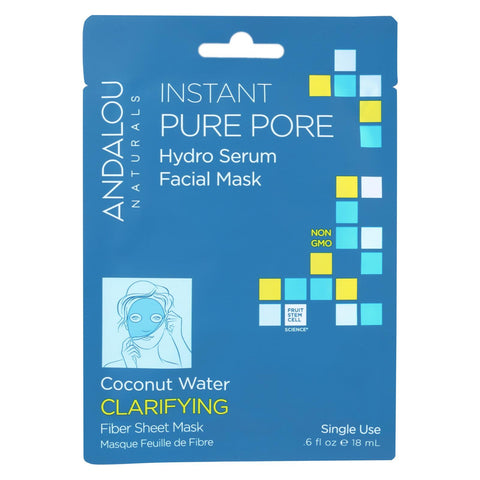 Andalou Naturals Instant Pure Pore Facial Mask - Coconut Water Clarifying - Case Of 6 - 0.6 Fl Oz