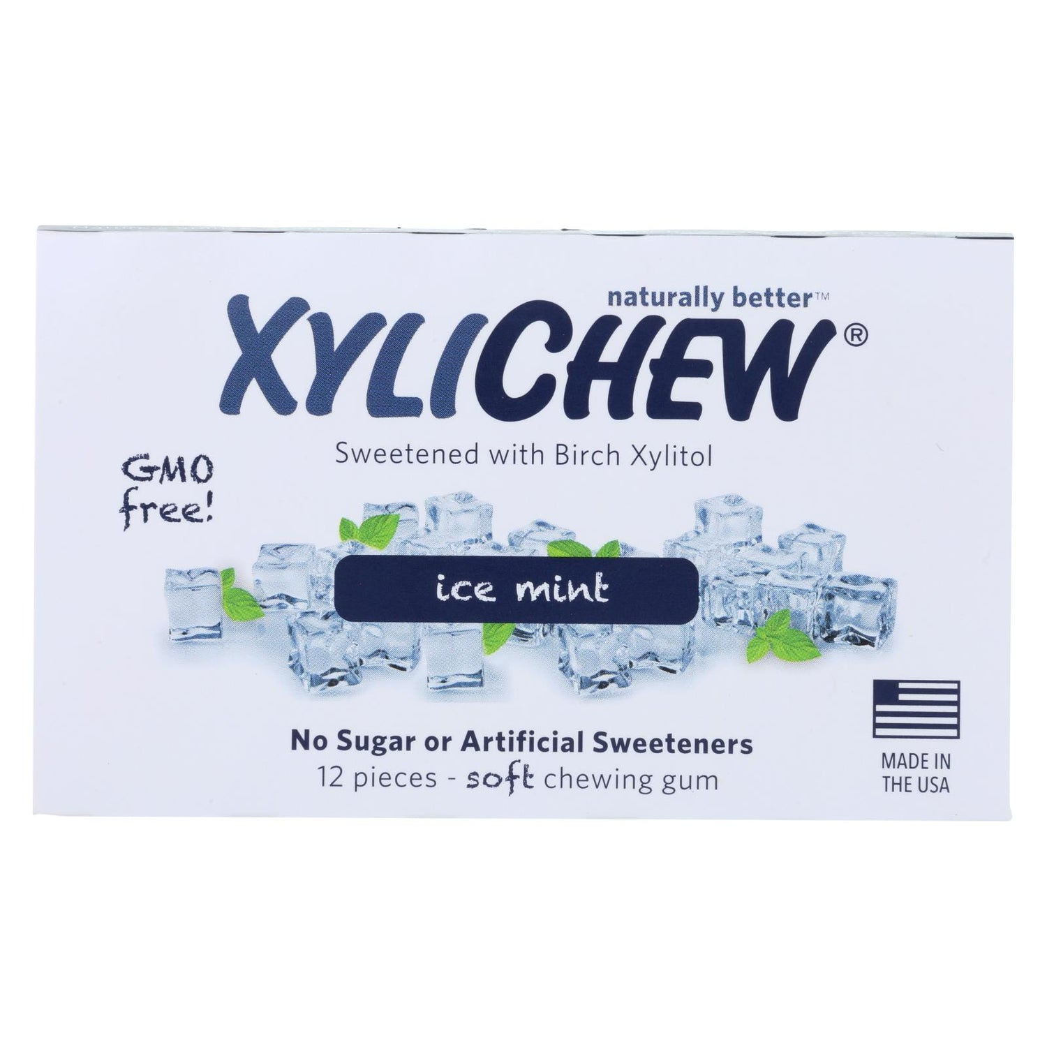 Xylichew Chewing Gum - Ice Mint - Case Of 24 - 12 Pieces