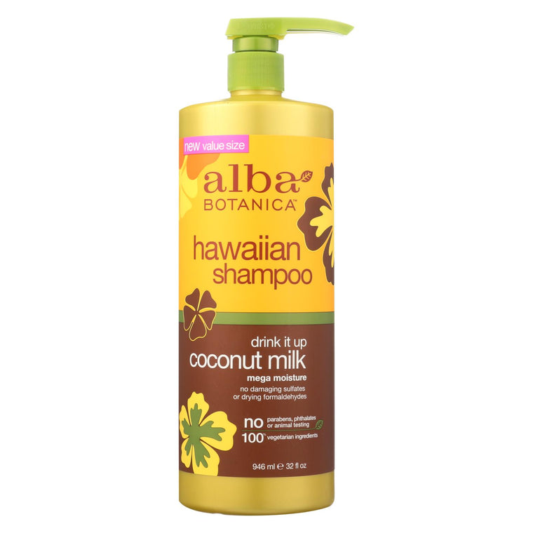 Alba Botanica Hawaiian Shampoo - Drink It Up Coconut Milk - 32 Fl Oz