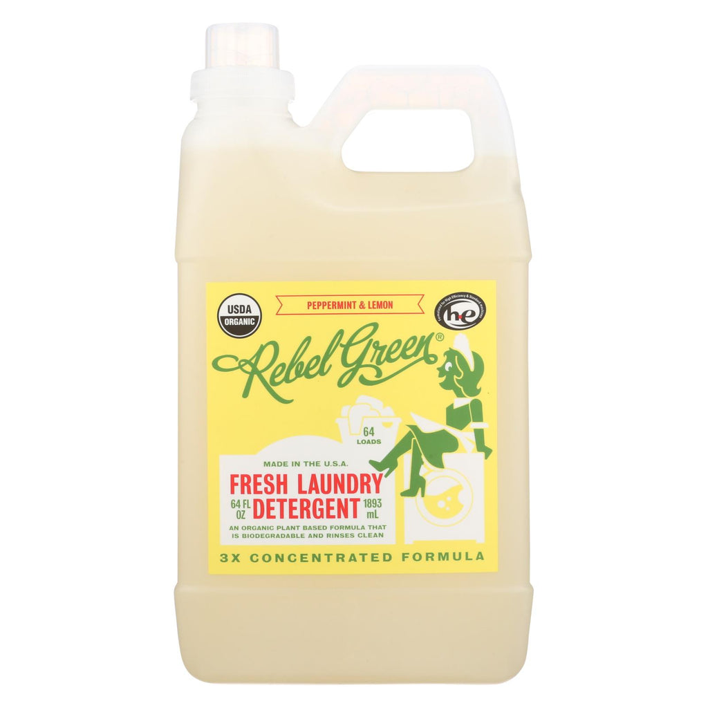 Rebel Green Laundry Detergent - Organic - Peppermint And Lemon - Case Of 4 - 64 Fl Oz