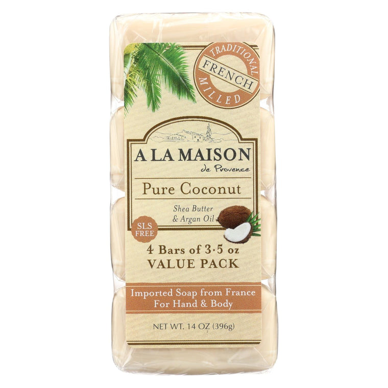 A La Maison Bar Soap - Pure Coconut - 4-3.5 Oz
