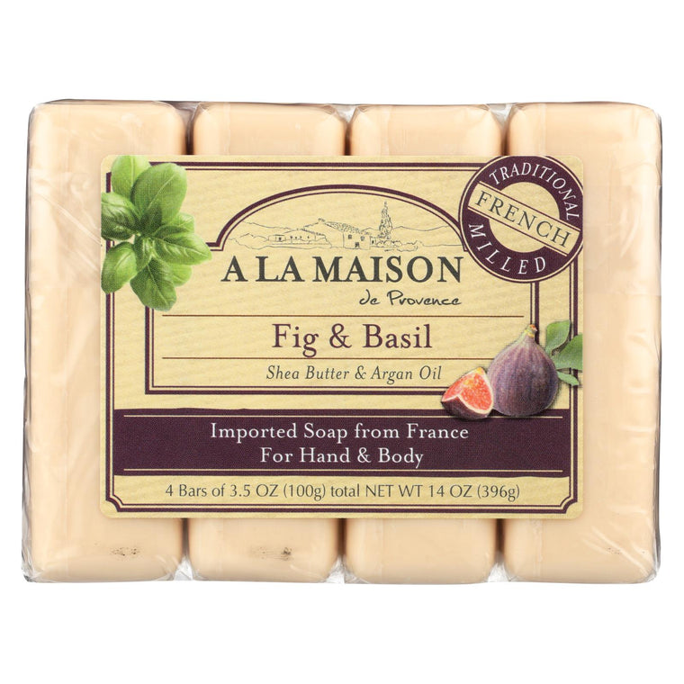 A La Maison Bar Soap - Fig And Basil - 4-3.5 Oz