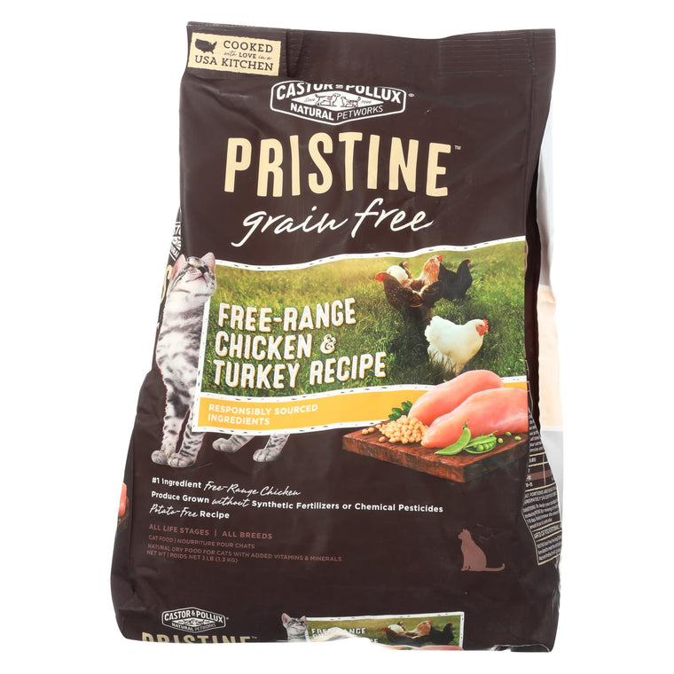Castor And Pollux Pristine Grain Free Dry Cat Food - Chicken & Turkey - Case Of 5 - 3 Lb.
