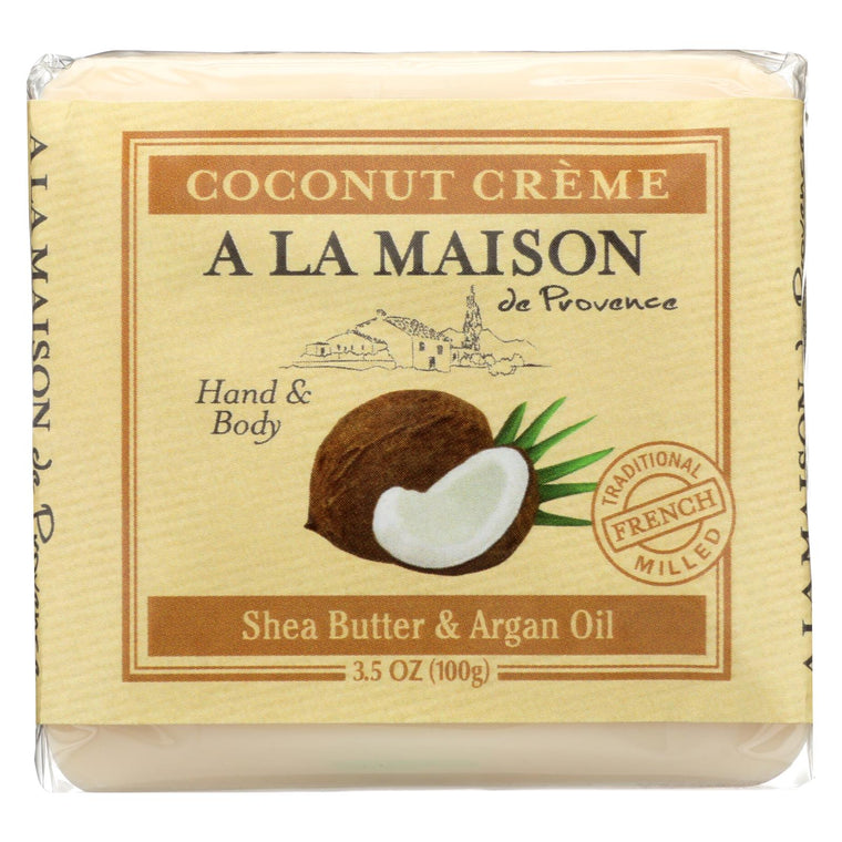 A La Maison Bar Soap - Pure Coconut - Case Of 6 - 3.5 Oz