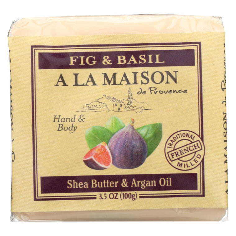 A La Maison Bar Soap - Fig And Basil - Case Of 6 - 3.5 Oz