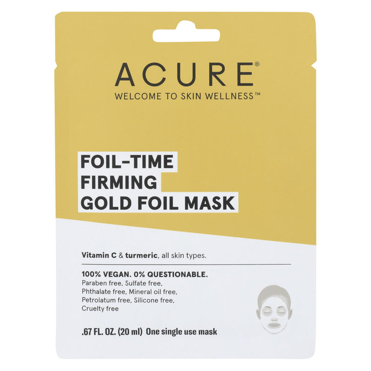 Acure - Mask - Foil-time Firming Gold Foil Mask - Case Of 12 - 0.67 Fl Oz.