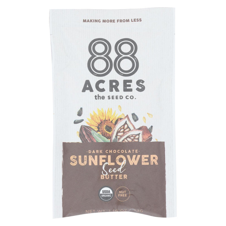 88 Acres - Seed Butter - Organic Dark Chocolate Sunflower - Case Of 10 - 1.16 Oz.