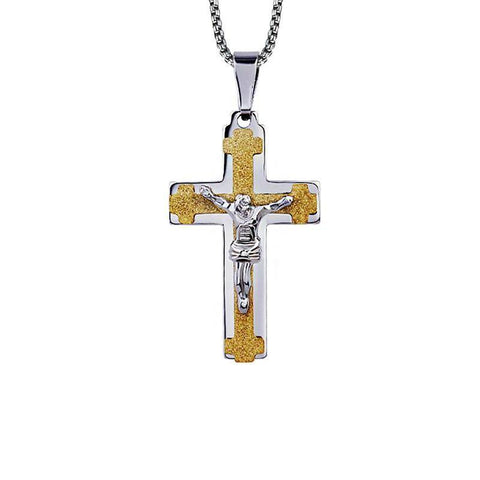 Gold & Silver Crucifix Pendant Necklace - Exotic Land Imports