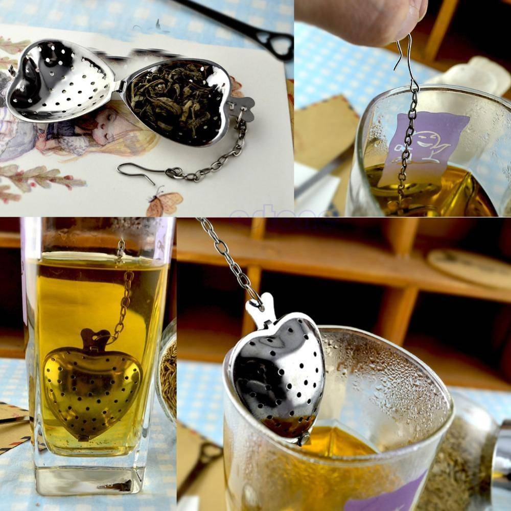 Heart Shaped Tea Infuser With Chain (Stainless Steel) - Free Shipping