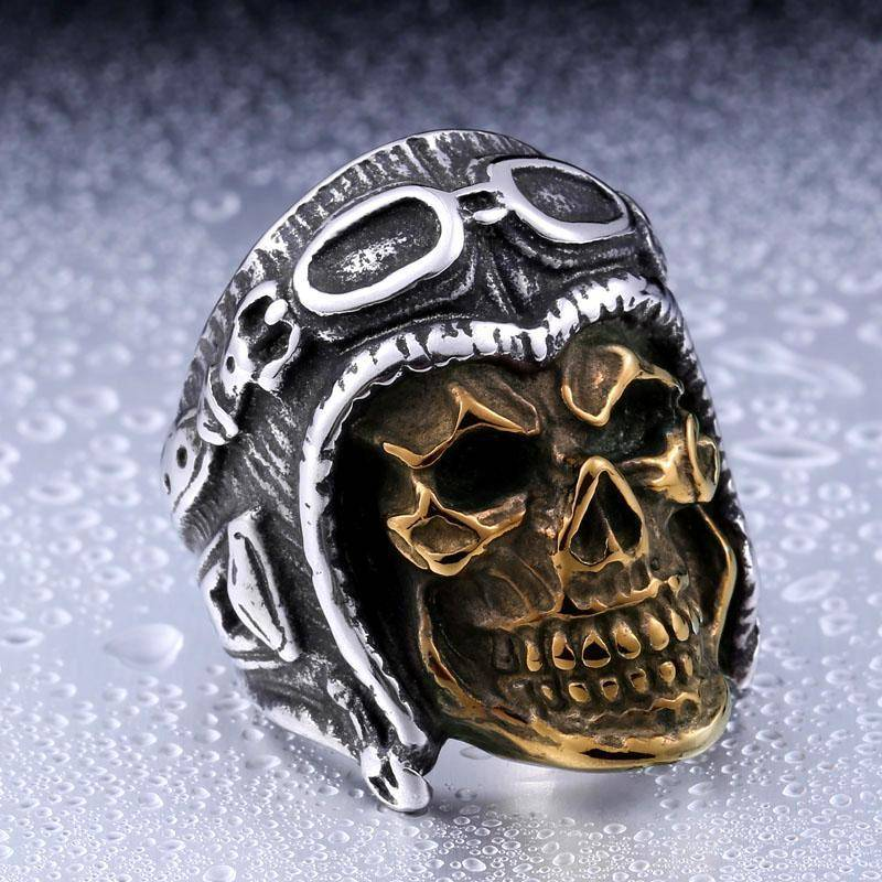 """Ghost Biker"" Stainless Steel Skull Biker Ring - Free Worldwide Shipping - Exotic Land Imports"